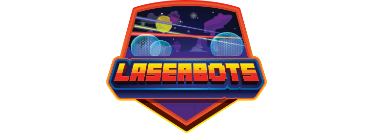 Logo for Laserbots, a family-friendly virtual reality escape experience
